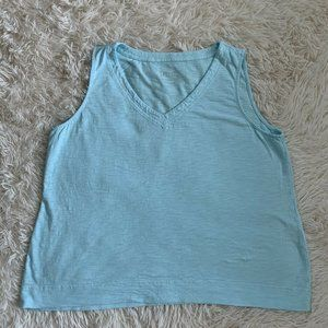 Chicos Shell Tank Top Cotton Blouse Blue Size XL